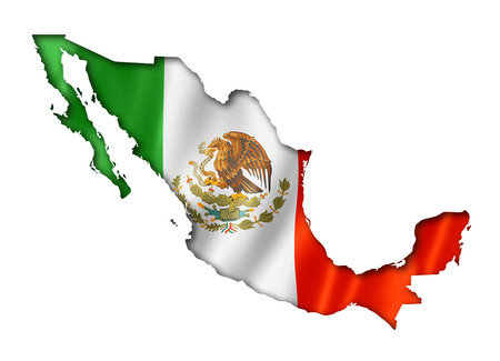 México, mapa, bandera, tres de representación tridimensional, aislado en blanco Foto de archivo - 29270132