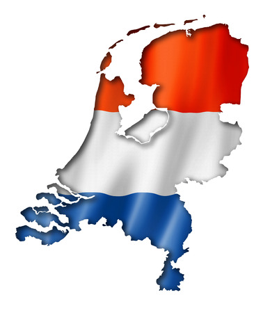 map of the netherlands: Netherlands flag map, three dimensional render, isolated on white