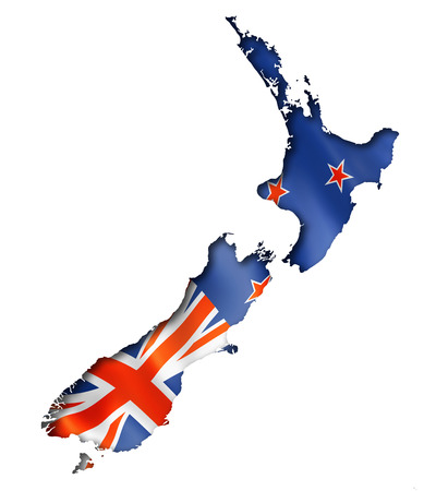 New Zealand flag map, three dimensional render, isolated on white Foto de archivo