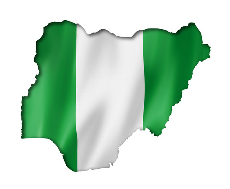 Nigeria flag map, three dimensional render, isolated on white photo