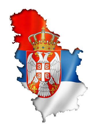 serbia: Serbia flag map, three dimensional render, isolated on white