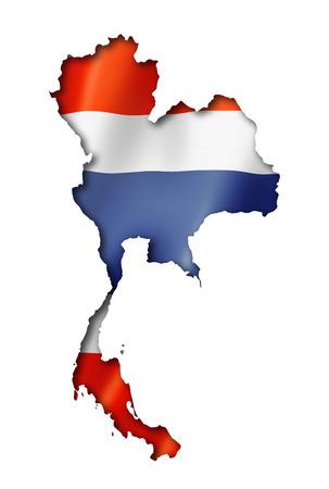 Thailand flag map, three dimensional render, isolated on white Standard-Bild