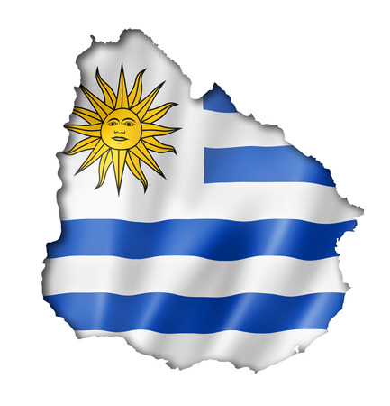 uruguay: Uruguay flag map, three dimensional render, isolated on white
