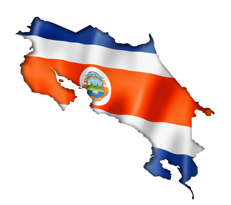 costa rica flag: Costa Rica flag map, three dimensional render, isolated on white