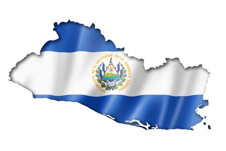mapa de el salvador: El Salvador, mapa, bandera, render tridimensional, aislado en blanco