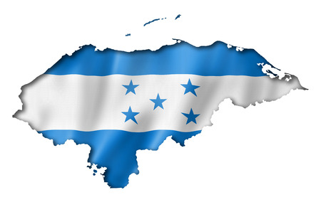 Honduras flag map, three dimensional render, isolated on white