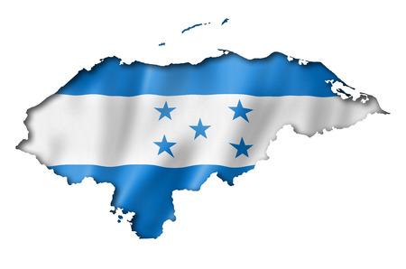 bandera honduras: Honduras, mapa, bandera, tres de representaci�n tridimensional, aislado en blanco Foto de archivo
