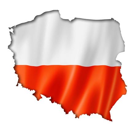 poland flag: Poland flag map, three dimensional render, isolated on white