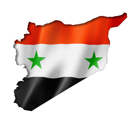 Syria flag map, three dimensional render, isolated on white photo