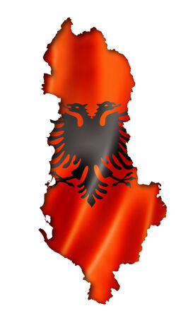 Albania flag map, three dimensional render, isolated on white photo