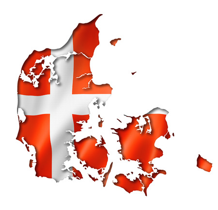 Denmark flag map, three dimensional render, isolated on white photo