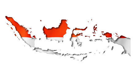 indonesia: Indonesia flag map, three dimensional render, isolated on white