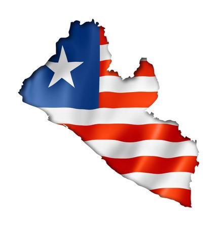 liberia: Liberia flag map, three dimensional render, isolated on white