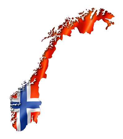 Norway flag map, three dimensional render, isolated on white photo