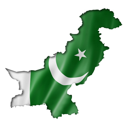 Pakistan flag map, three dimensional render, isolated on white Stock Photo