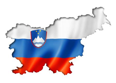 slovenia: Slovenia flag map, three dimensional render, isolated on white