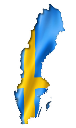 sweden flag: Sweden flag map, three dimensional render, isolated on white