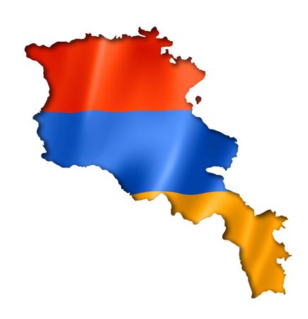 Armenia flag map, three dimensional render, isolated on white photo