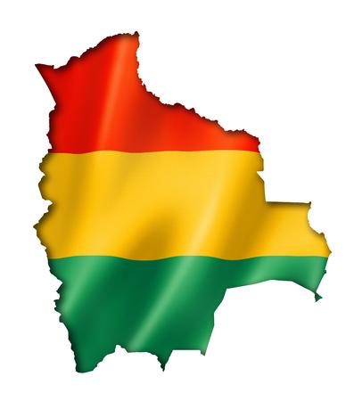bandera de bolivia: Bolivia, mapa, bandera, tres de representaci�n tridimensional, aislado en blanco