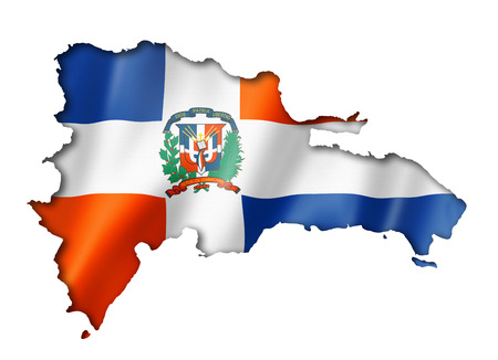 Dominican Republic flag map, three dimensional render, isolated on white photo