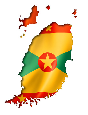 Grenada flag map, three dimensional render, isolated on white photo