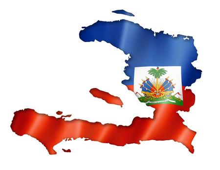 Haiti flag map, three dimensional render, isolated on white photo