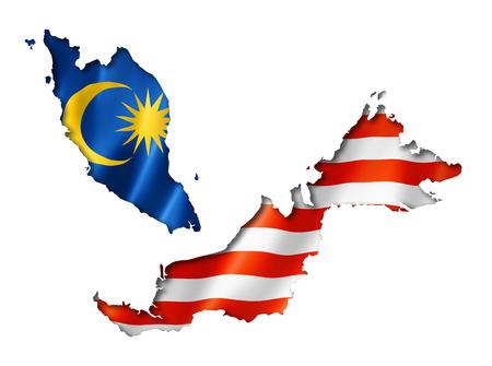 マレーシアの国旗マップ、白で隔離され、3 つの 3次元レンダリング