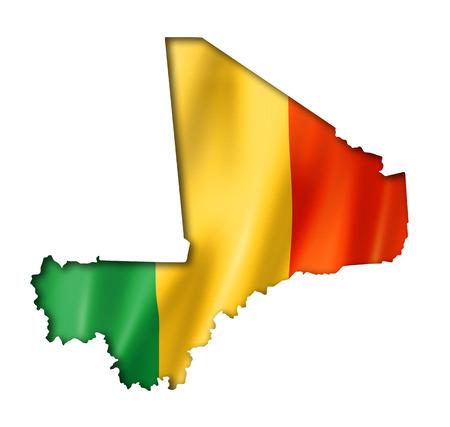 mali: Mali flag map, three dimensional render, isolated on white