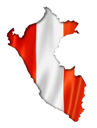 mapa del peru: Perú, mapa, bandera, tres de representación tridimensional, aislado en blanco