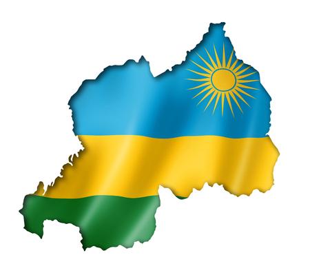 rwanda: Rwanda flag map, three dimensional render, isolated on white Stock Photo