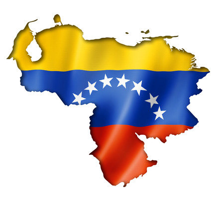 Venezuela flag map, three dimensional render, isolated on white photo