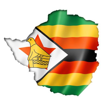 zimbabwe: Zimbabwe, mapa, bandera, tres de representación tridimensional, aislado en blanco Foto de archivo