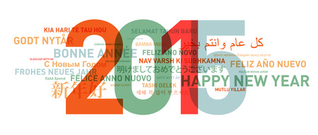 new year: Happy new year from the world. Different languages celebration card