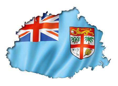 fiji: Fiji flag map, three dimensional render, isolated on white Stock Photo