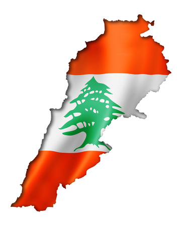 Lebanon flag map, three dimensional render, isolated on white photo