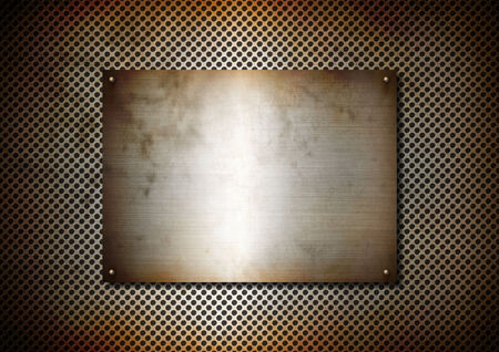 Silver Metal texture rusty plate with screws on a aluminium grid background photo