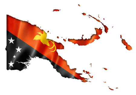 Papua New Guinea flag map, three dimensional render, isolated on white