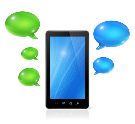 3D Speech bubbles and mobile phone. Communication and technology photo