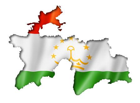 Tajikistan flag map, three dimensional render, isolated on white photo