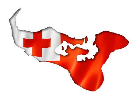 tonga: Tonga flag map, three dimensional render, isolated on white