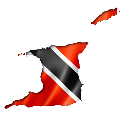 trinidad: Trinidad And Tobago flag map, three dimensional render, isolated on white Stock Photo