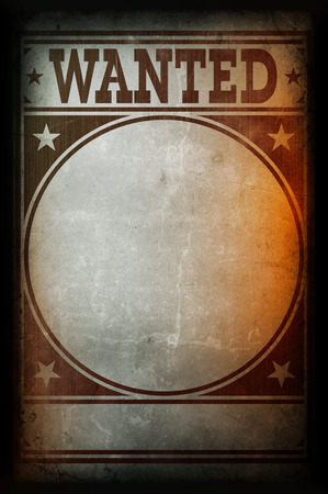 Wanted poster printed on a grunge wall background texture Foto de archivo