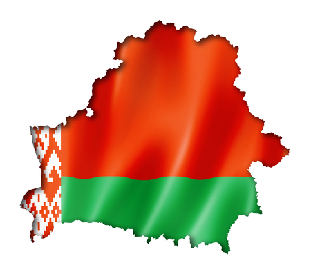 russia map: Belarus flag map, three dimensional render, isolated on white