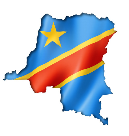 republic of the congo: Democratic Republic of the Congo flag map, three dimensional render, isolated on white