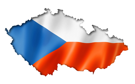 czech republic flag: Czech Republic flag map, three dimensional render, isolated on white