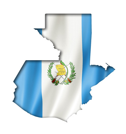 Guatemala flag map, three dimensional render, isolated on white