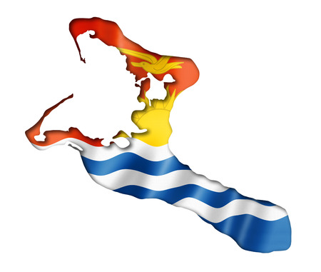 kiribati: Kiribati flag map, three dimensional render, isolated on white