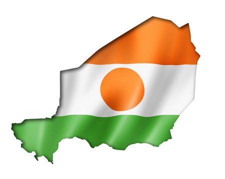 niger: Niger flag map, three dimensional render, isolated on white