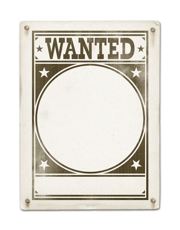white poster: Wanted poster isolated on white background