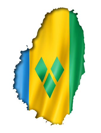 grenadines: Saint Vincent and the Grenadines flag map, three dimensional render, isolated on white